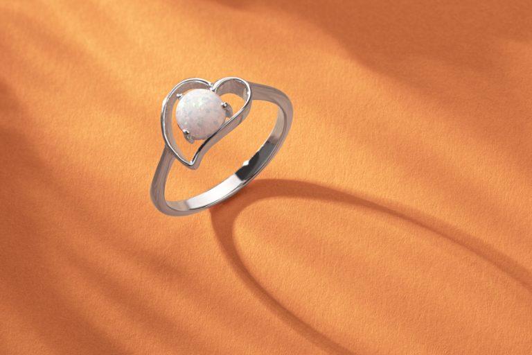 Opal Heart Ring in Sterling Silver