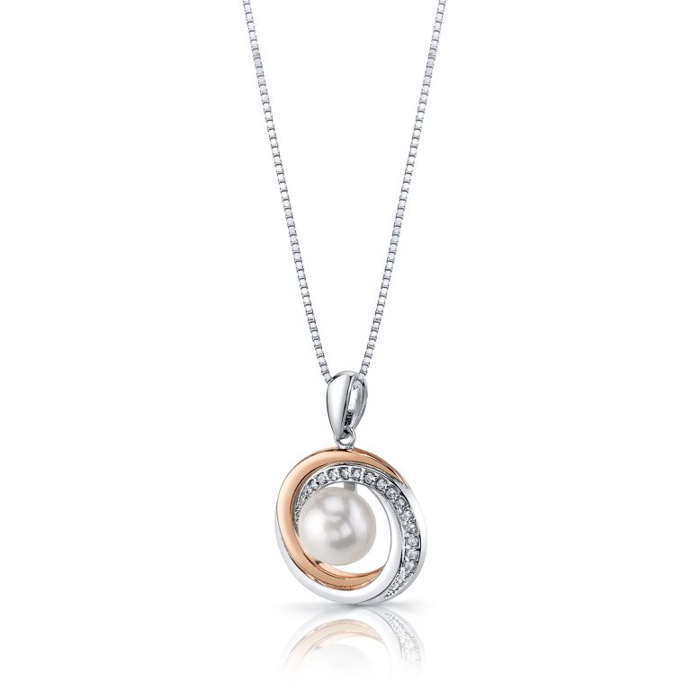 Pearl Halo Pendant Necklace in Sterling Silver