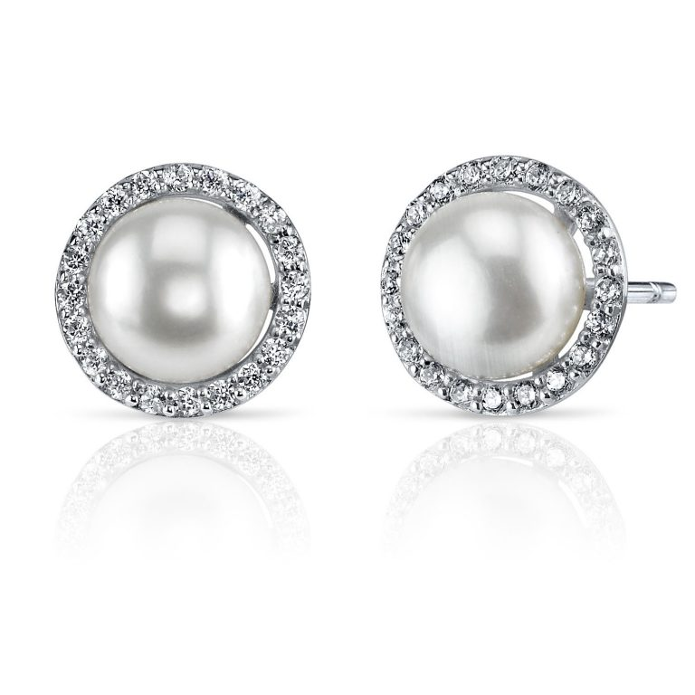 Pearl & Cubic Zirconia Stud Earrings in Sterling Silver