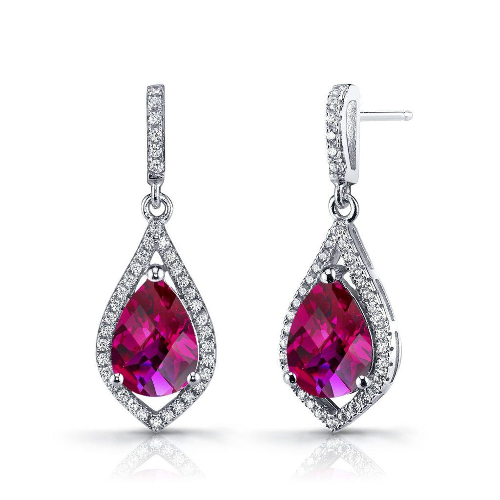 Ruby & Cubic Zirconia Drop Earrings in Sterling Silver