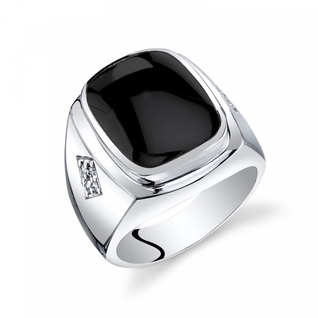 Father's Day Jewellery - Men's Black Onyx Knight Ring in Sterling Silver