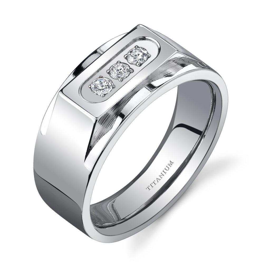 Men's Cubic Zirconia Bold Three Stone 10mm Ring in Titanium