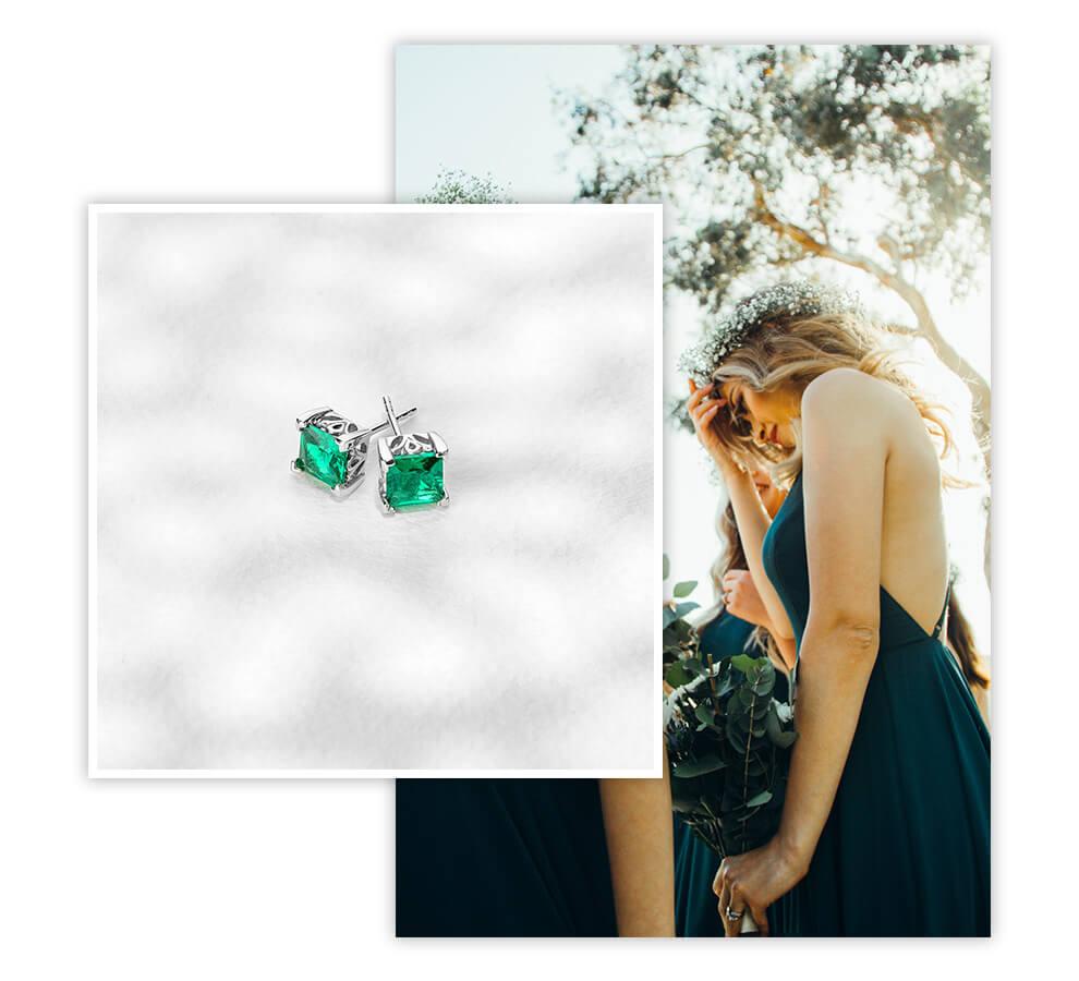 Emerald Bridesmaid Stud Earrings