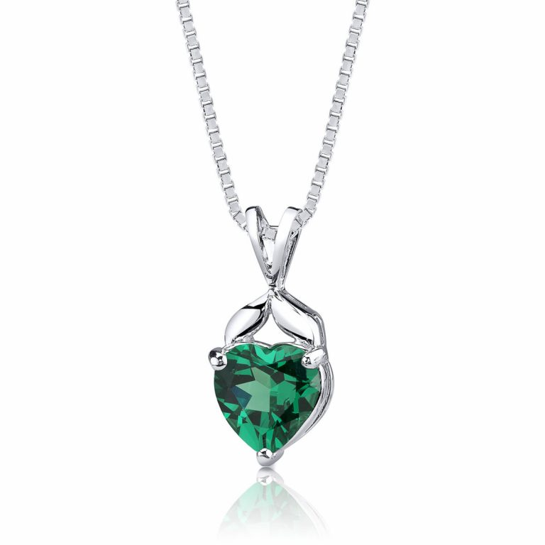 Heart Shaped Emerald Pendant Necklace in Sterling Silver