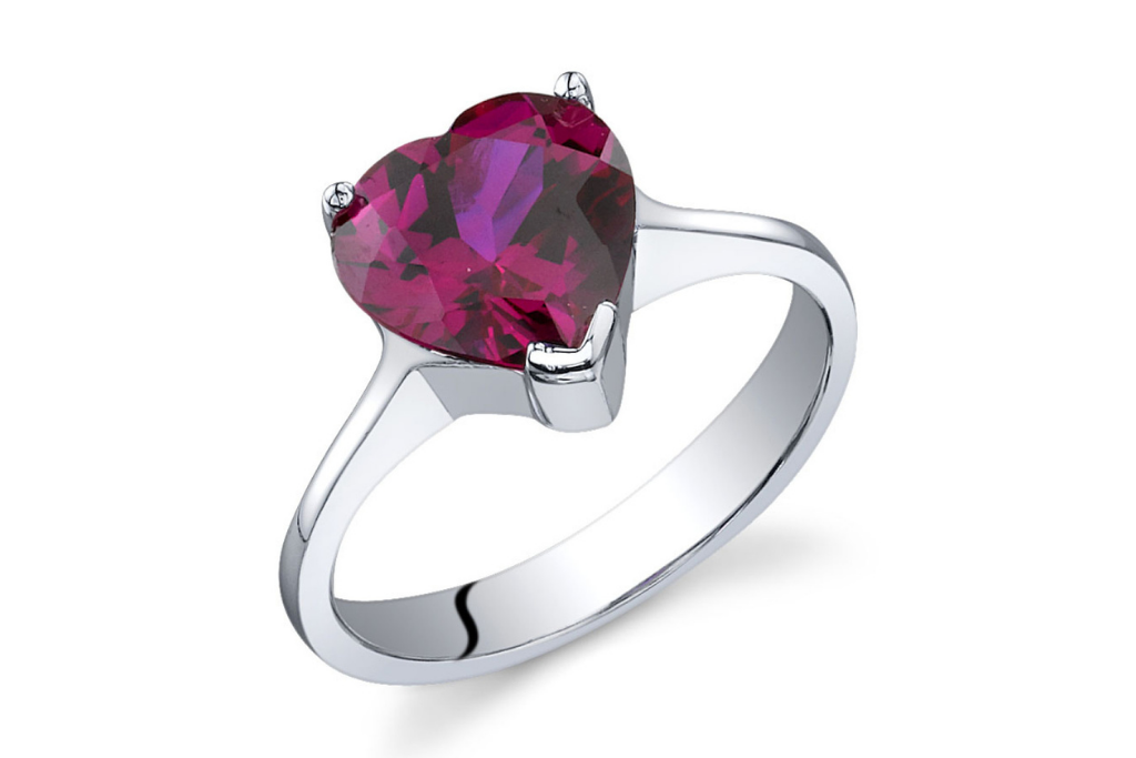 Heart Shaped Ruby Ring in Sterling Silver
