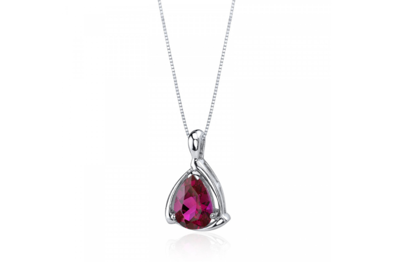 Pear Cut Ruby Pendant Necklace in Sterling Silver