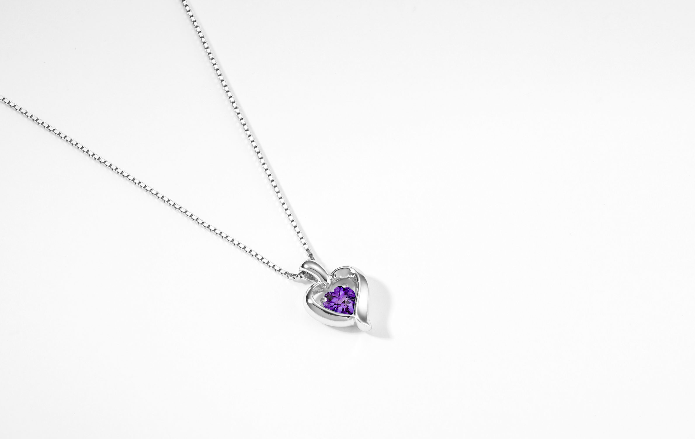 Amethyst Heart Necklace in Sterling Silver