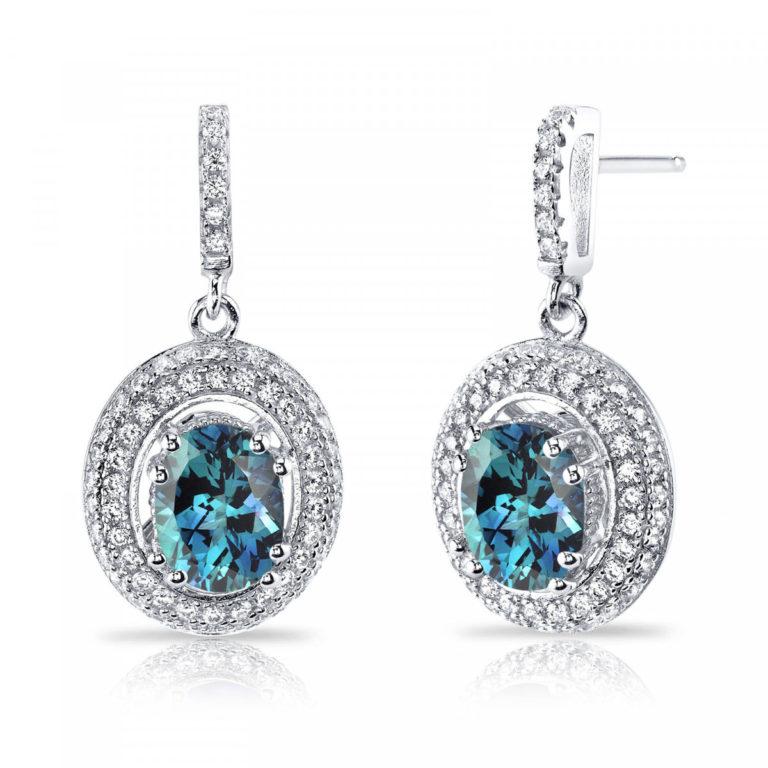 Alexandrite & CZ Halo Drop Earrings in Sterling Silver