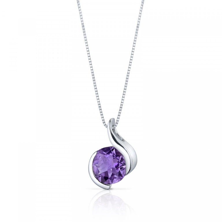 Amethyst Sophistication Pendant Necklace in Sterling Silver
