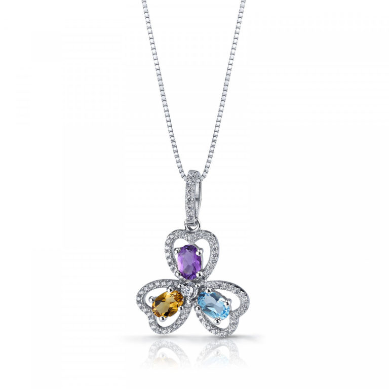 Amethyst Yellow Citrine & Swiss Blue Topaz Trinity Pendant Necklace in Sterling Silver