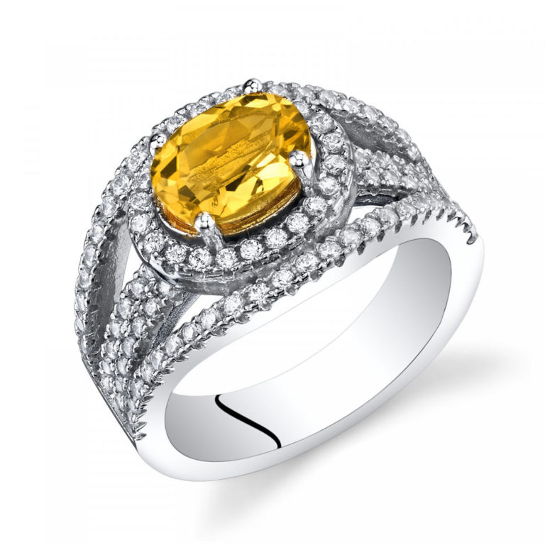 Citrine & CZ Lateral Halo Ring in Sterling Silver