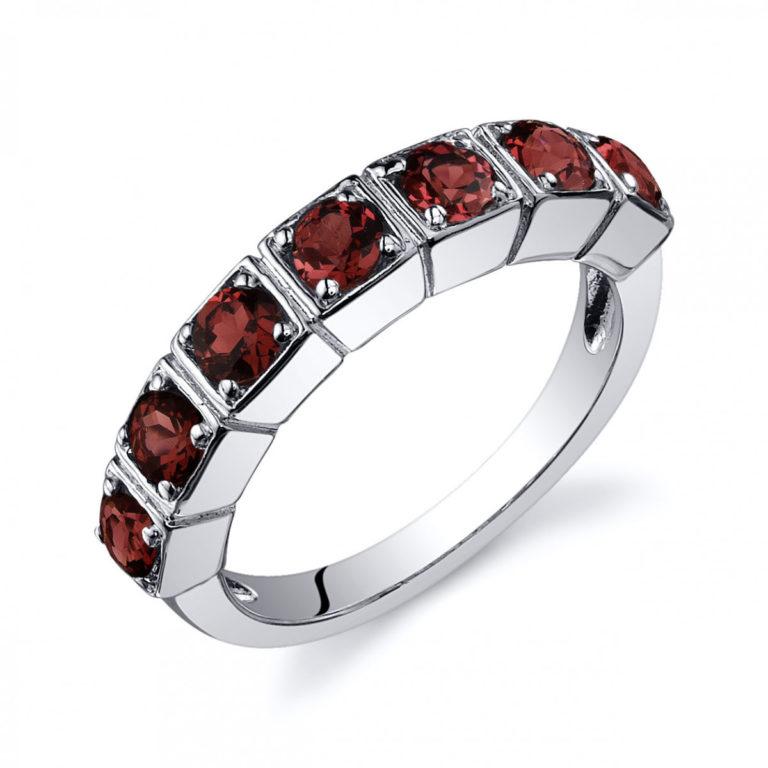 Garnet Seven Stone Ring in Sterling Silver