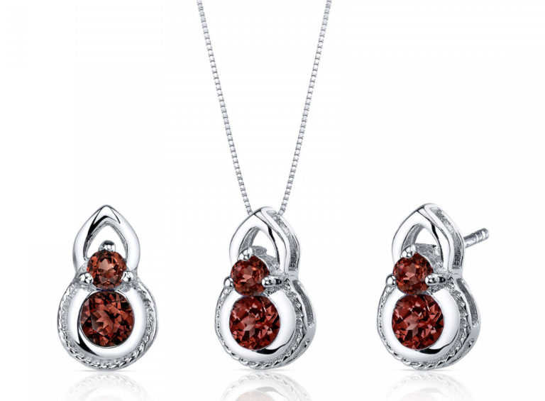 Garnet Two-Stone Style Jewellery Set in Sterling Silver