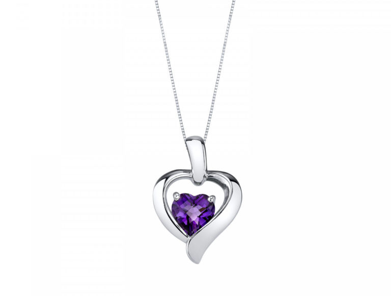 Heart Shaped Amethyst Pendant Necklace in Sterling Silver
