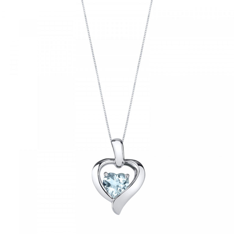 Heart Shaped Aquamarine Pendant Necklace in Sterling Silver