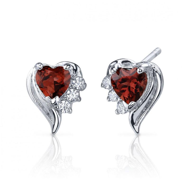 Heart Shaped Garnet and Cubic Zirconia Cupid Grace Stud Earrings in Sterling Silver