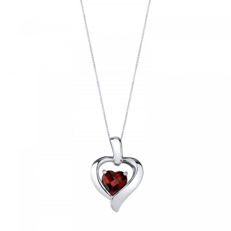 Heart Shaped Garnet Pendant Necklace in Sterling Silver