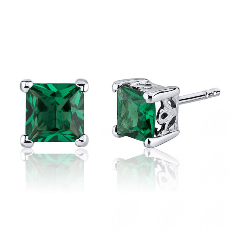 Princess Cut Emerald Stud Earrings in Sterling Silver