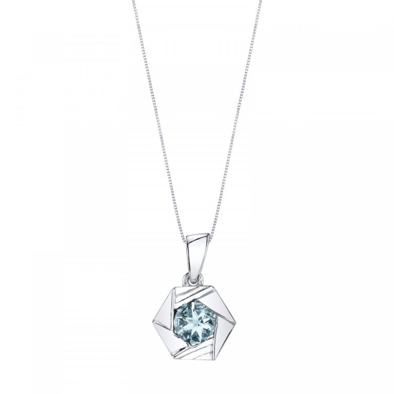 Cirque Aquamarine Pendant Necklace in Sterling Silver