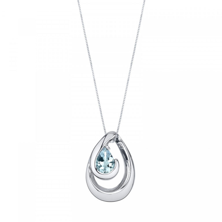 Aquamarine Wave Pendant Necklace in Sterling Silver -