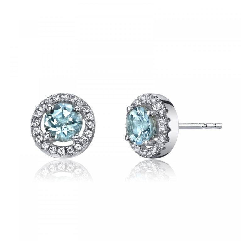 White Topaz & Aquamarine Halo Stud Earrings in 9ct White Gold