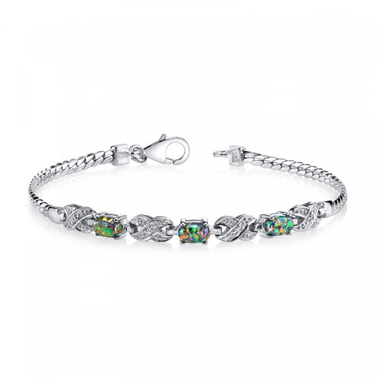 Black Opal & CZ Eternity Bracelet in Sterling Silver