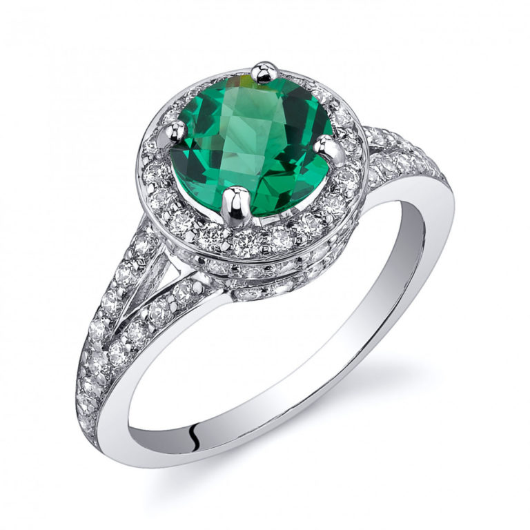 Emerald and CZ Halo Engagement Ring in Sterling Silver