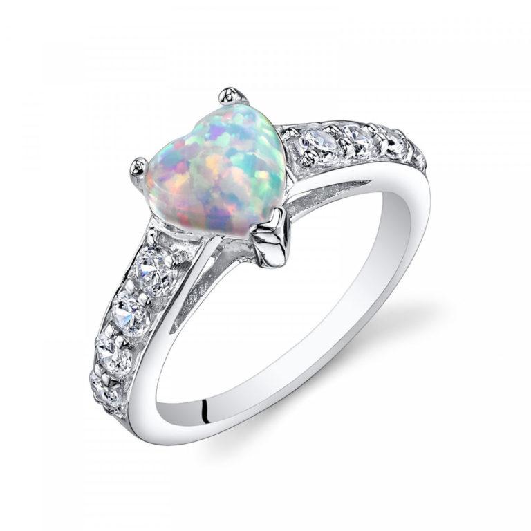 Opal Heart & CZ Ring in Sterling Silver