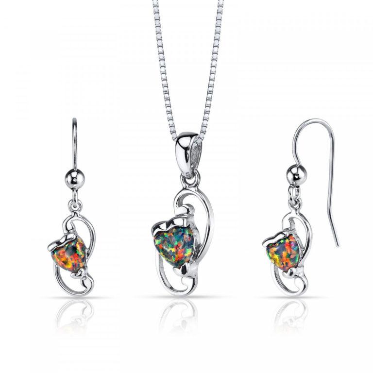 Heart Shaped Opal Jewellery Set in Sterling Silver