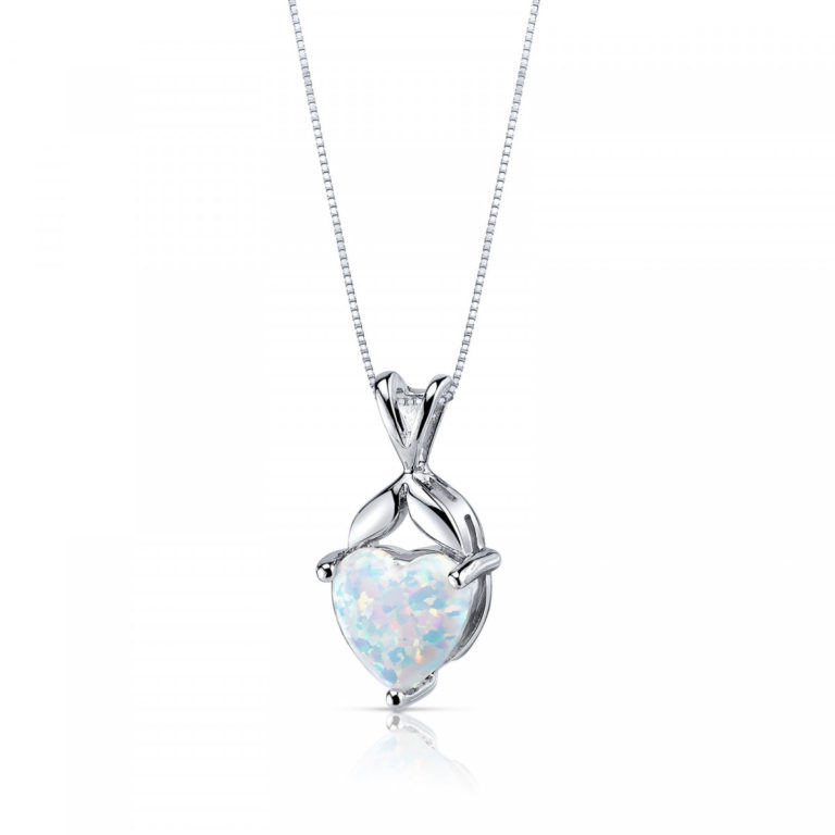 Heart Shaped Opal Pendant Necklace in Sterling Silver