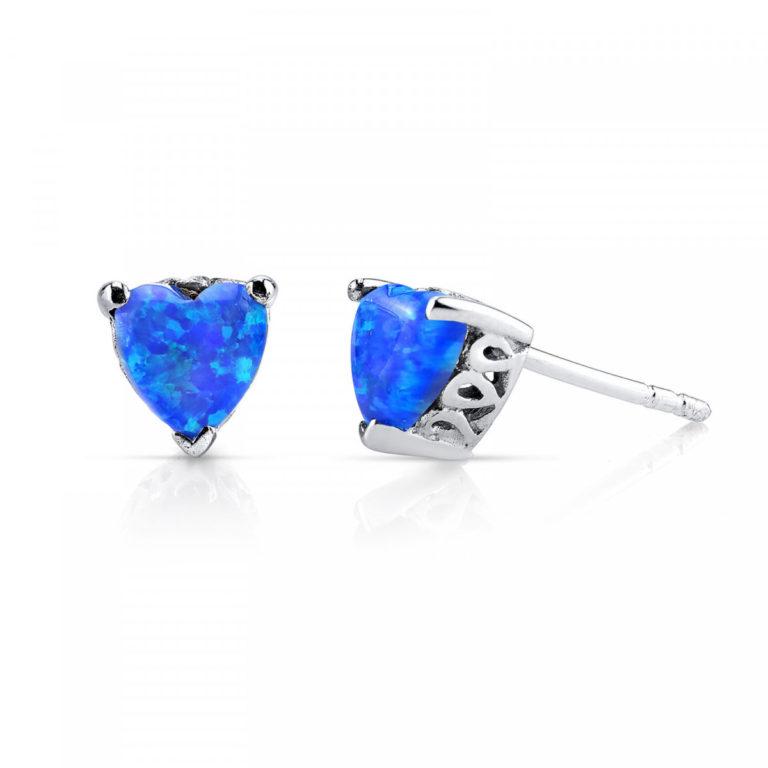 Heart Shaped Opal Stud Earrings in Sterling Silver