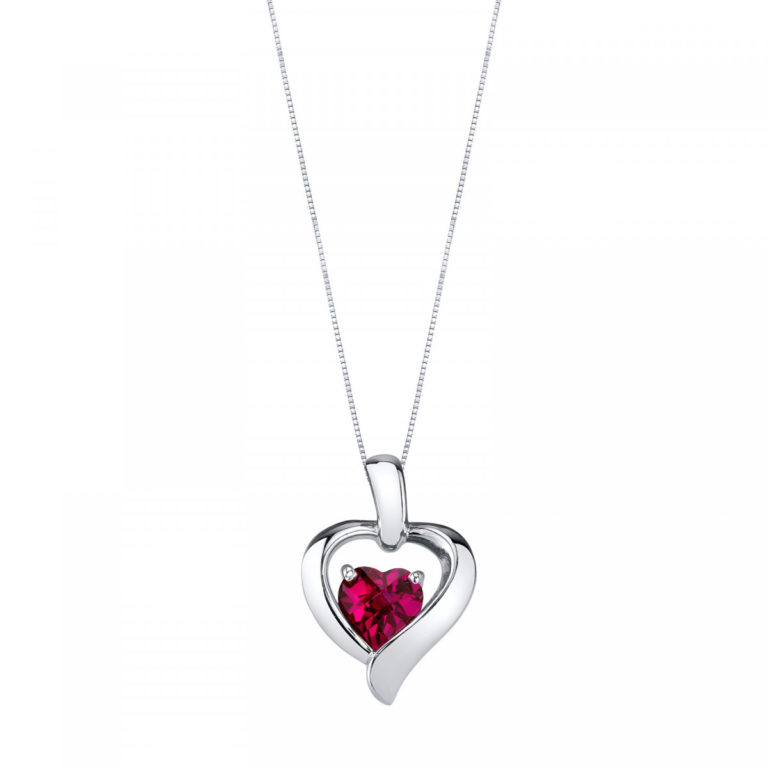 Heart Shaped Ruby Pendant Necklace in Sterling Silver