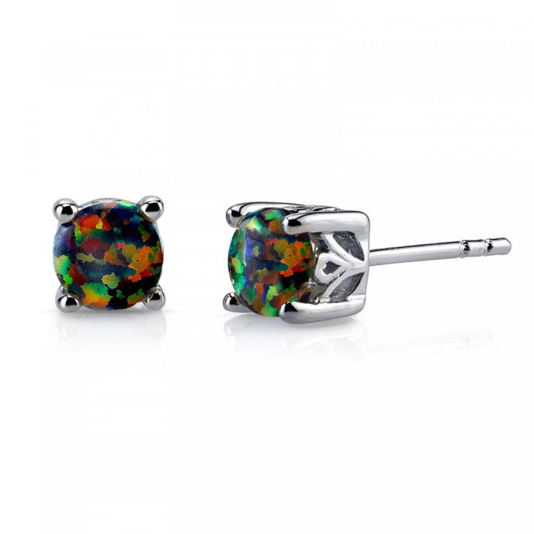 Opal Stud Earrings in Sterling Silver