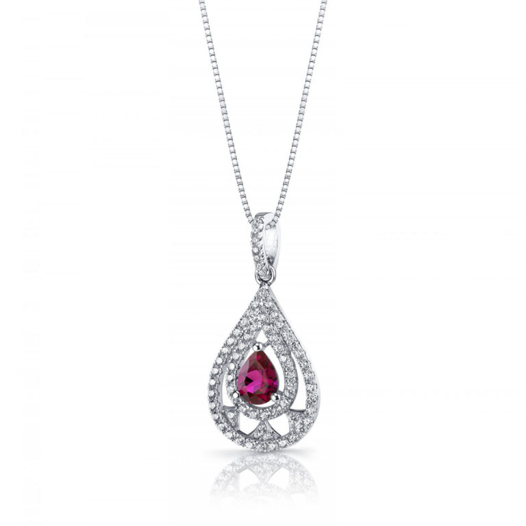 Ruby & CZ Chandelier Pendant Necklace in Sterling Silver