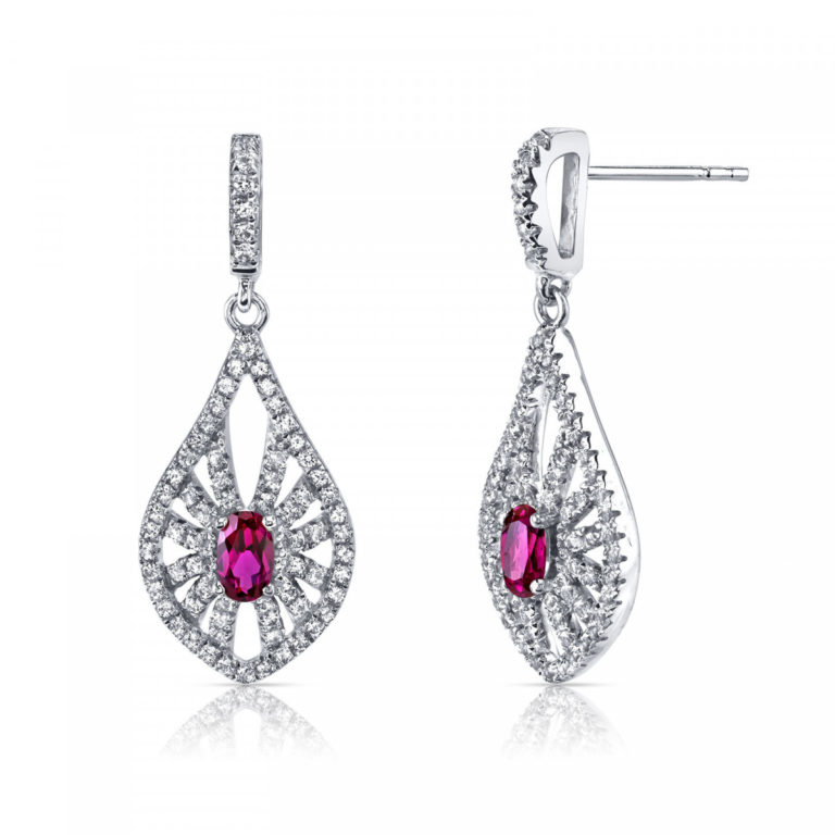 Ruby White Topaz Chandelier Drop Earrings in 9ct White Gold