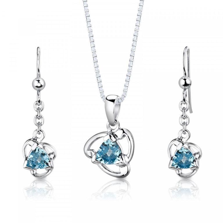 Trillion Cut Swiss Blue Topaz Jewellery Set in Sterling Silver