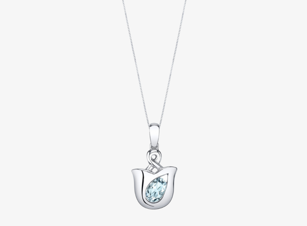 Aquamarine Tulip Pendant Necklace in Sterling Silver