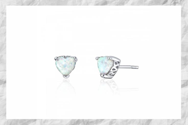 Spring Jewellery Heart Shaped Opal Stud Earrings in Sterling Silver