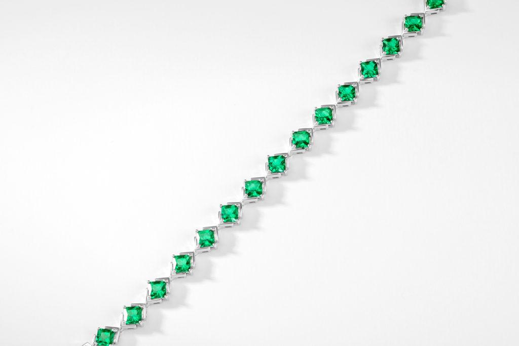 Princess Cut Emerald Bracelet in Sterling Silver