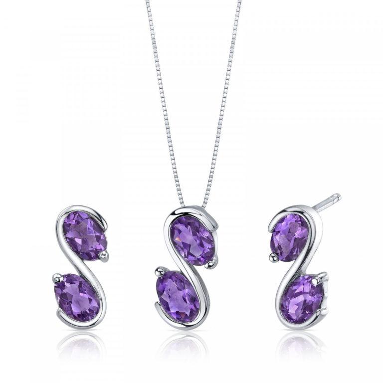 Amethyst Jewellery Set in Sterling Silve