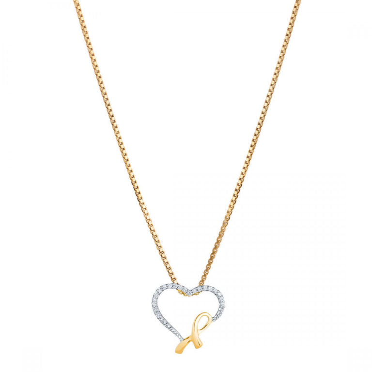 Diamond Heart & Ribbon 9ct Gold Pendant Necklace with Gold Plated Silver Chain