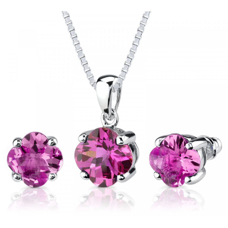 Pink Sapphire Lily Jewellery Set in Sterling Silver