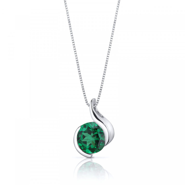 Emerald Pendant Necklace in Sterling Silver