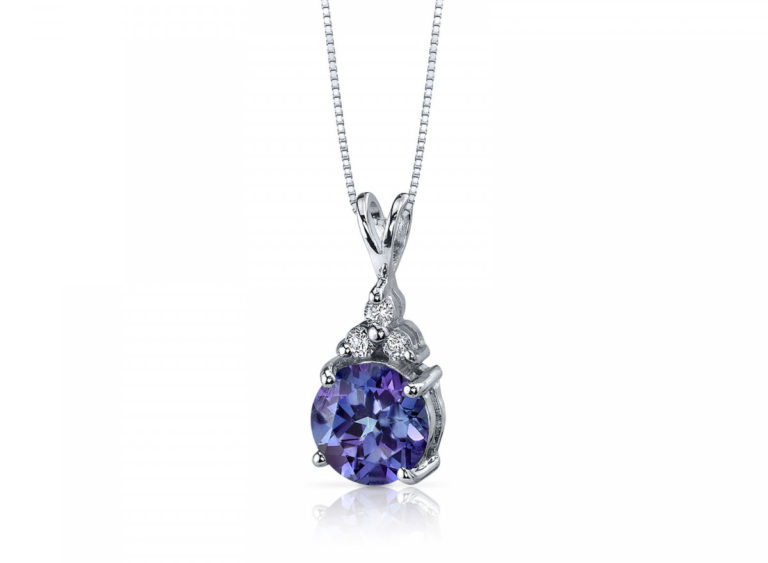 Alexandrite & CZ Accent Pendant Necklace in Sterling Silver