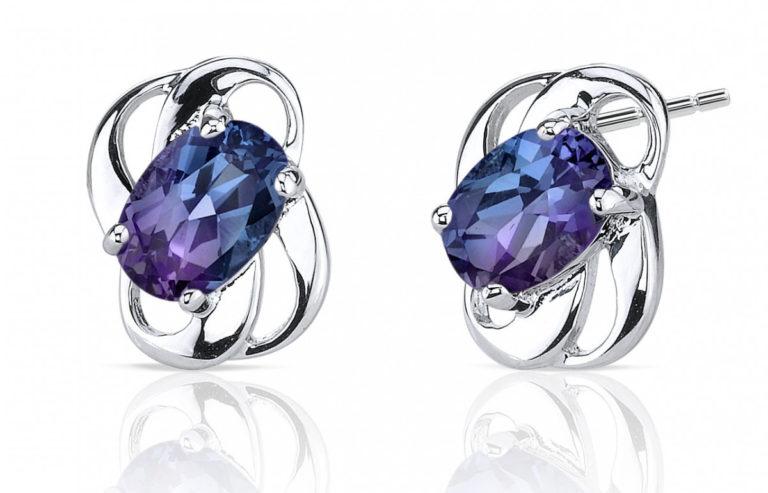Alexandrite Stud Earrings in Sterling Silver