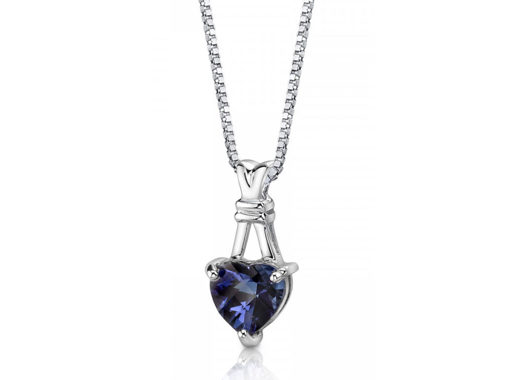 Heart Shaped Alexandrite Pendant Necklace in Sterling Silver