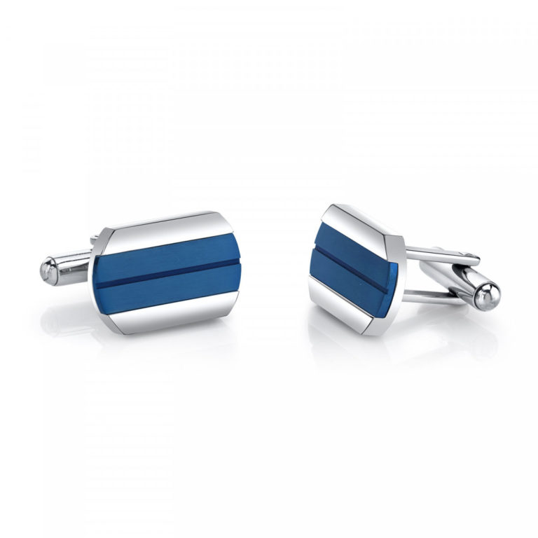 Father's Day Jewellery - Men's Cool Artic Blue Stripe Cufflink in Stainless Steel