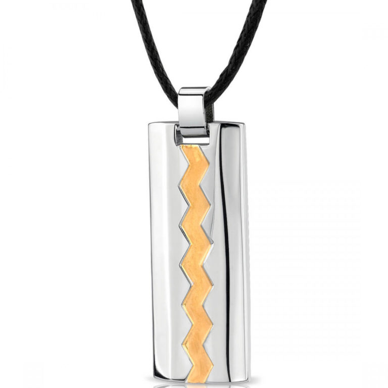 Father's Day Jewellery - Men's Gold Accented Zig Zag Two Tone Dog Tag Pendant Necklace in Stainless Steel