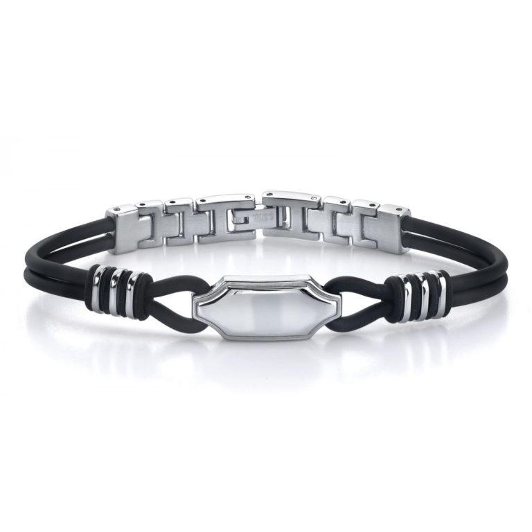 Men's ID Style Dual Rubber Corn Link Bracelet in Stainless Steel