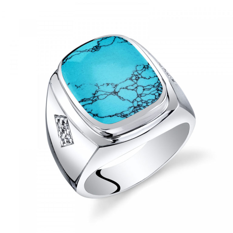 Father's Day Jewellery - Men's Turquoise Knight Ring in Sterling Silver
